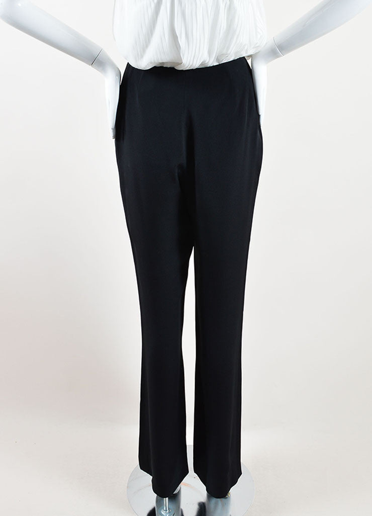 Chanel Black Silk Wide Leg Trouser Pants Backview
