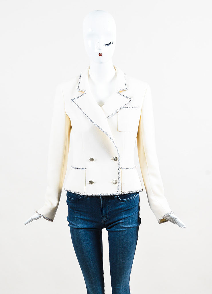 Cream Chanel Wool Tweed Trimmed Double Breasted Jacket Front 2