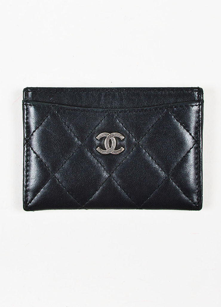 Chanel Black Lambskin Leather Quilted 'CC' Cardholder Frontview
