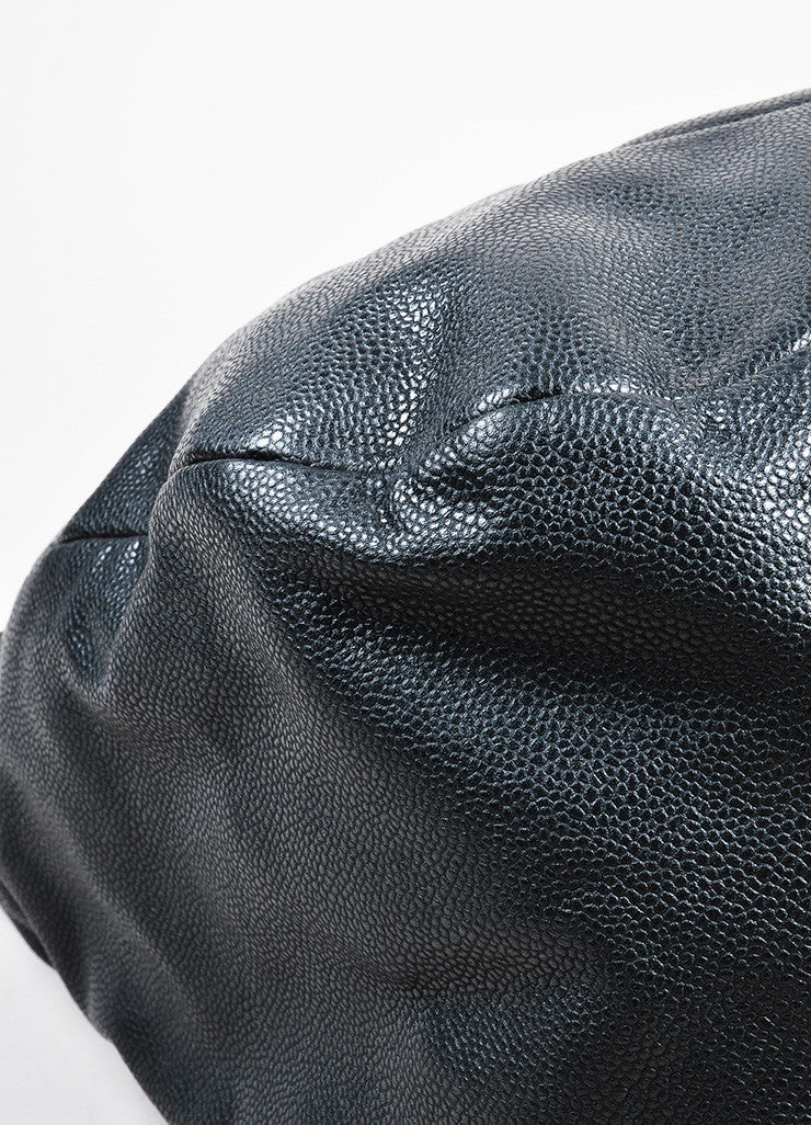 "Black Chanel Leather ""Caviar 31"" Chain Handle Hobo Bag Detail"