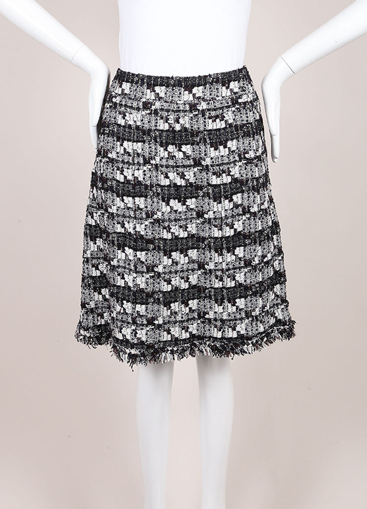 Chanel Black And White Woven Tweed Knit Metallic Fringe Trim A Line Skirt Frontview