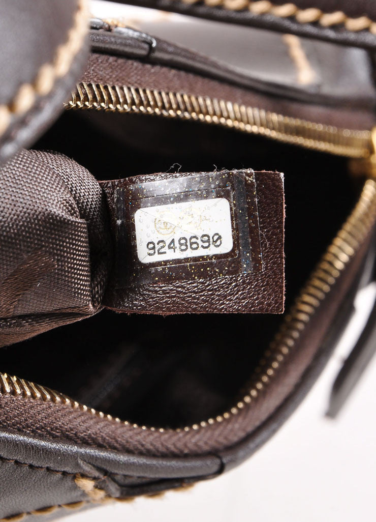 "Chanel Brown Leather Stitched ""CC"" Shoulder Bag Serial"