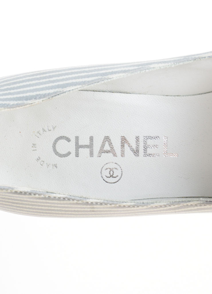 Grey and White Chanel Leather Pinstripe Pointed Cap Toe Heels Brand