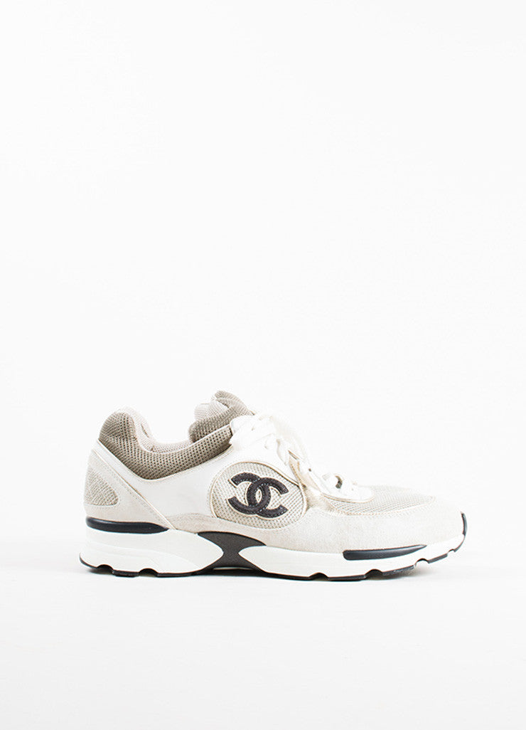 "Chanel Grey, White, and Metallic Gold Leather Suede ""CC"" Sneakers Sideview"