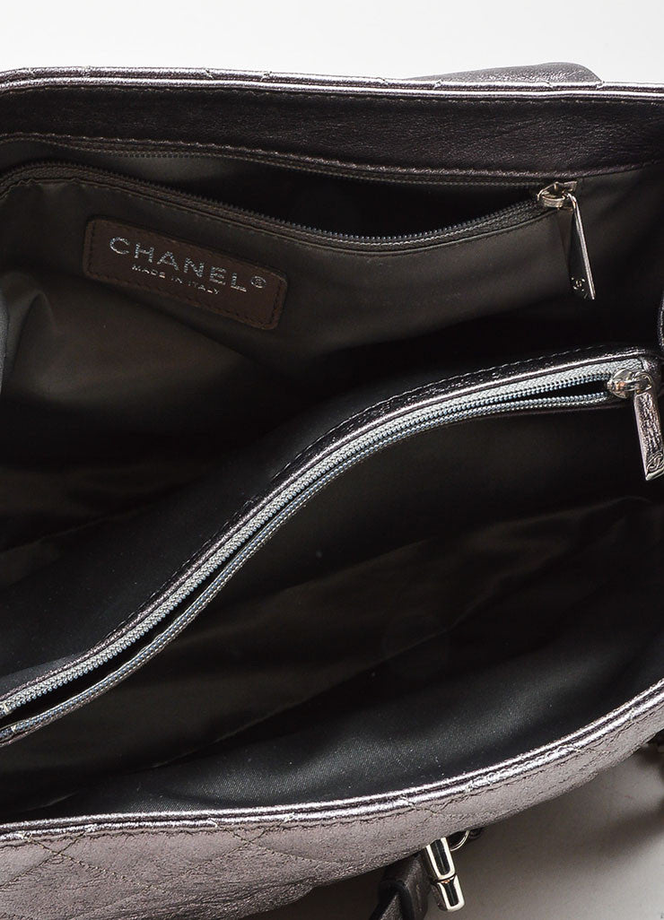 "Metallic Silver Leather Quilted Chanel ""Sharpei"" Flap Shoulder Bag Interior"