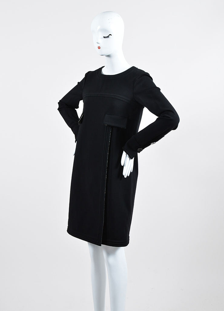Black Chanel Metallic Tweed Lining Long Sleeve Shift Dress Sideview