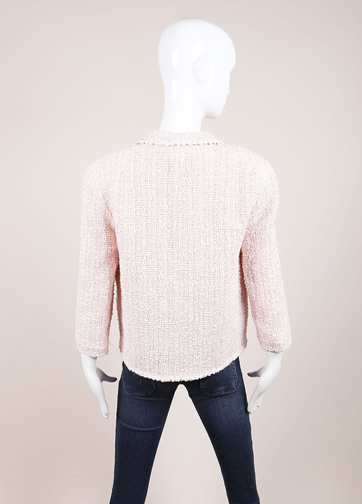 Chanel Pink and Cream Tweed Boucle Cotton and Wool Blend Single Button Jacket Backview