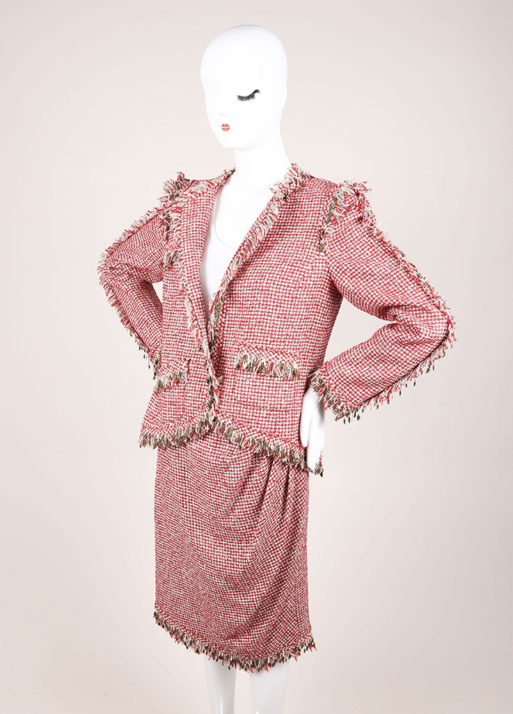 Chanel Red and White Wool Blend Tweed Fringe Trim Jacket Skirt Suit Sideview
