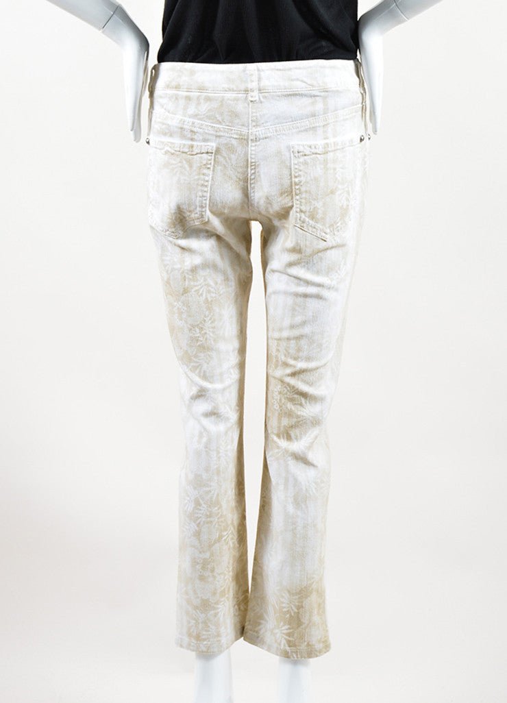 Chanel White and Beige Cotton Tropical Print Straight Leg Cropped Jeans Backview