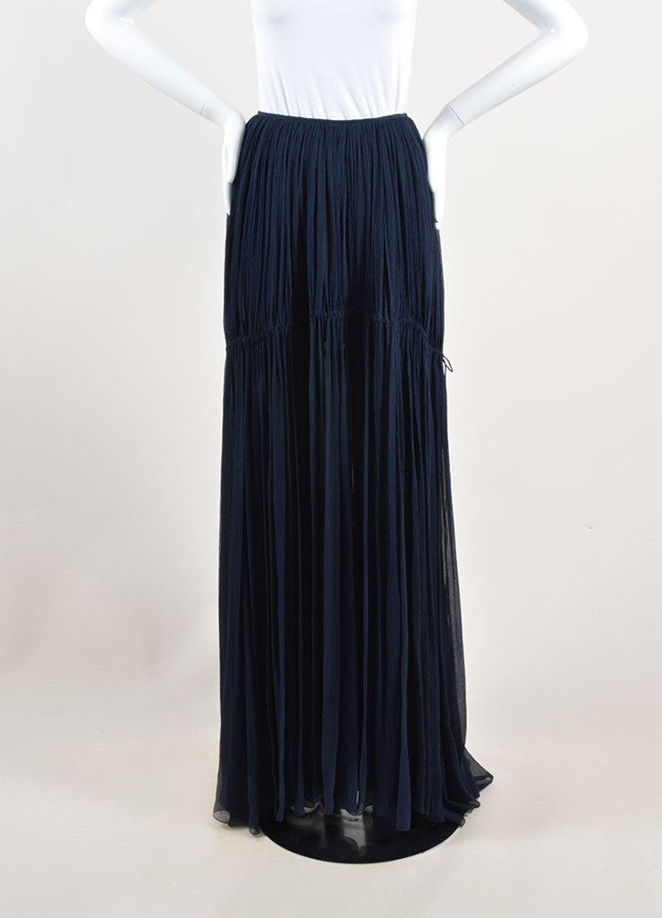 Chloe Navy Blue Silk Chiffon Pleated Drawstring Maxi Skirt Backview