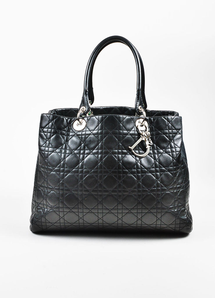 "å´?ÌÜChristian Dior Black ""Cannage"" Quilted Leather Large ""Lady Dior"" Tote Bag Frontview"