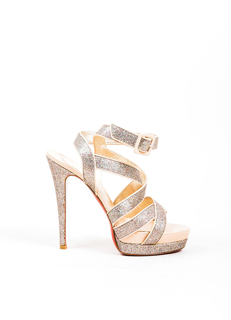 "Natural Taupe Glitter Christian Louboutin ""Straratata 140"" Sandal Sideview"