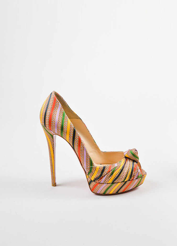 "Christian Louboutin Multicolor Textile ""Rasta Damas Greissimo 140"" Pumps Sideview"