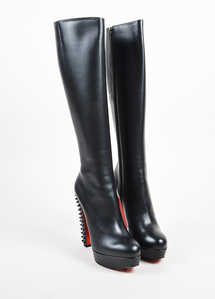 "Christian Louboutin Black Leather Spike ""Taclou Botta 140"" Boots Frontview"