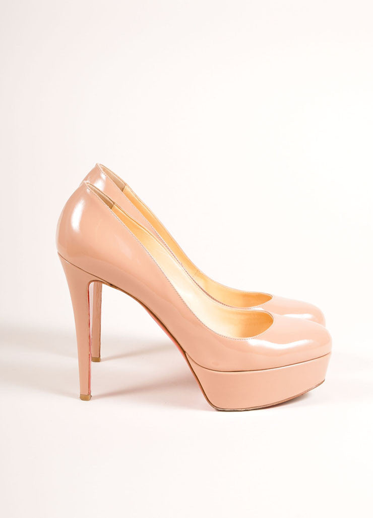 "Christian Louboutin Nude Patent Leather ""Bianca 120"" Platform Pumps Sideview"
