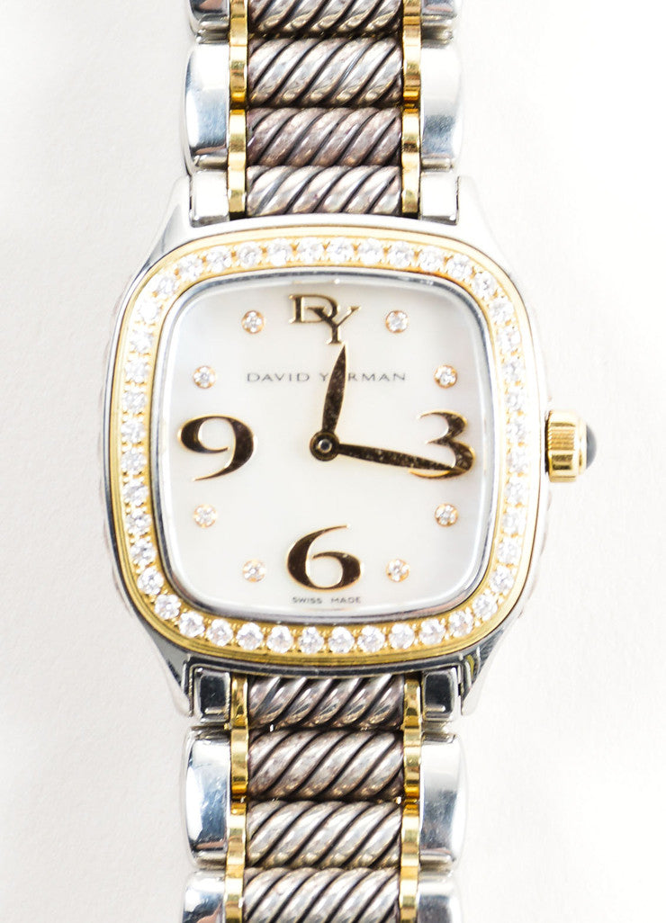"David Yurman Stainless Steel, 18K Gold, and Diamond 25mm ""Thoroughbred"" Watch Detail"