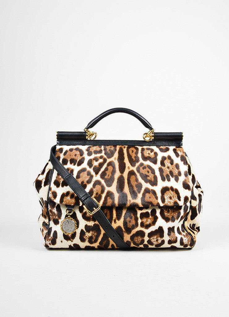 "Dolce & Gabbana Cream and Brown Pony Hair Leopard Print ""Miss Sicily"" Bag Frontview"
