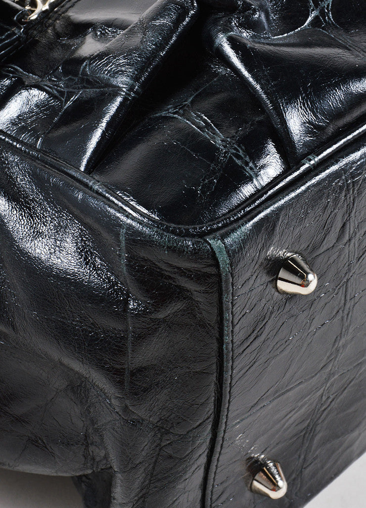 Dries van Noten Black Reptile Leather Shoulder Bag Feet