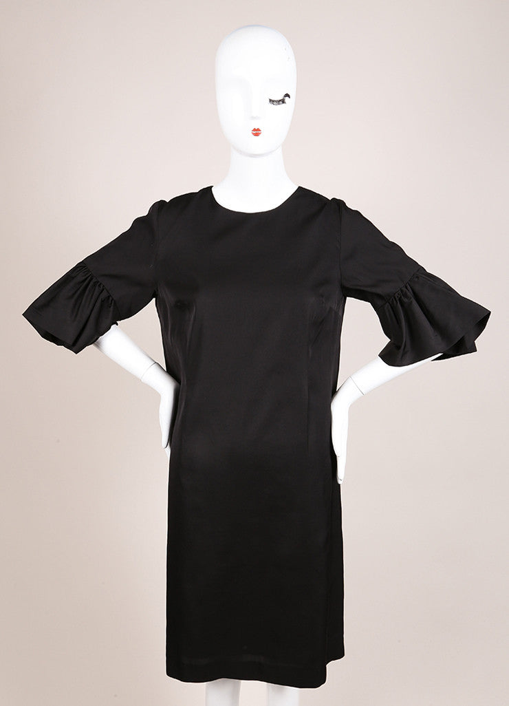 Dries Van Noten Black Satin Ruffle Trim Crop Sleeve Shift Dress Frontview