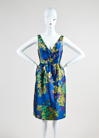 "Blue, Green, and Gold Erdem Floral Brocade V-Neck ""Dora"" Sleeveless Dress Frontview"