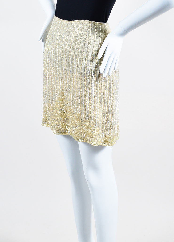Escada Tan Silk Sequin Beaded Embellished Mini Skirt Sideview