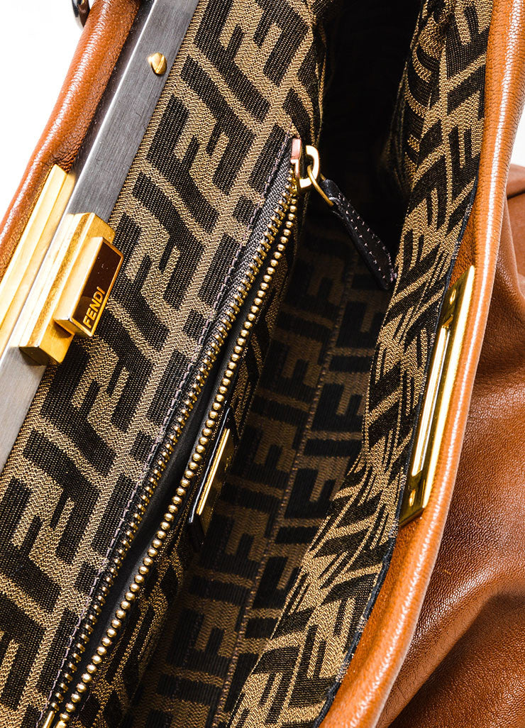 "Fendi ""Peekaboo"" Brown Leather Satchel Bag Interior"