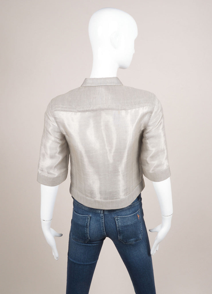 Giorgio Armani Silver Silk and Linen Cropped Button Up Blouse Backview
