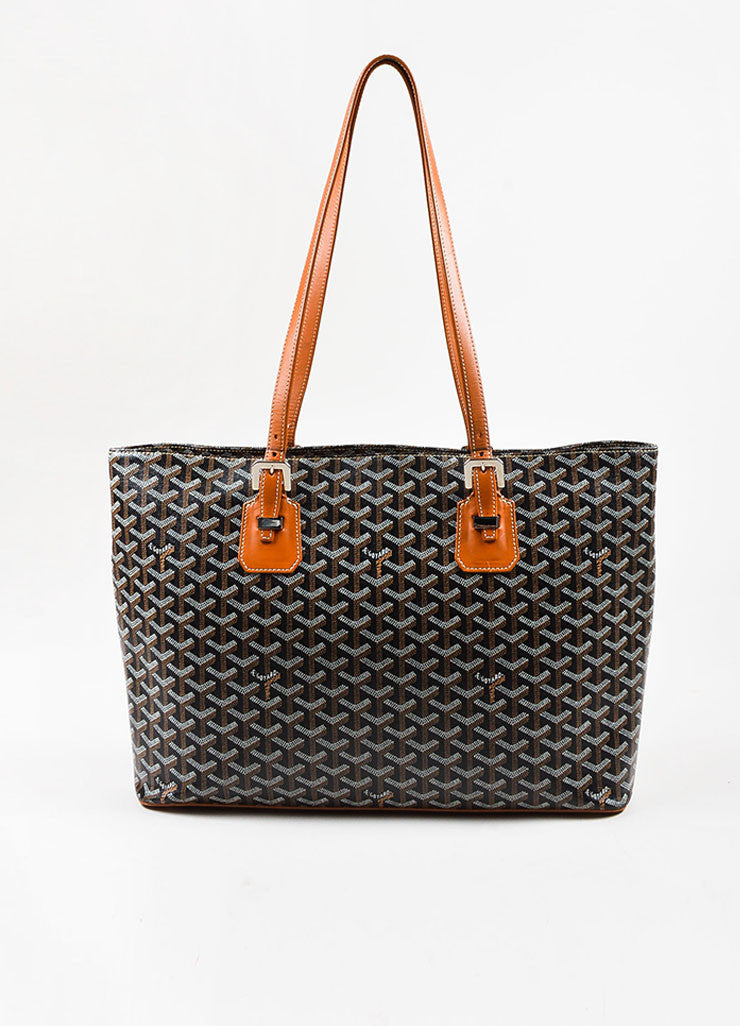 "Goyard Black, Tan, and White Coated Canvas and Leather ""Okinawa"" GM Tote Bag Frontview"