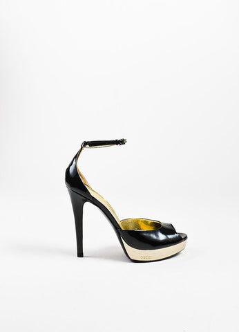 Gucci Black and Metallic Gold Patent Leather Peep Toe Platform Sandals Sideview