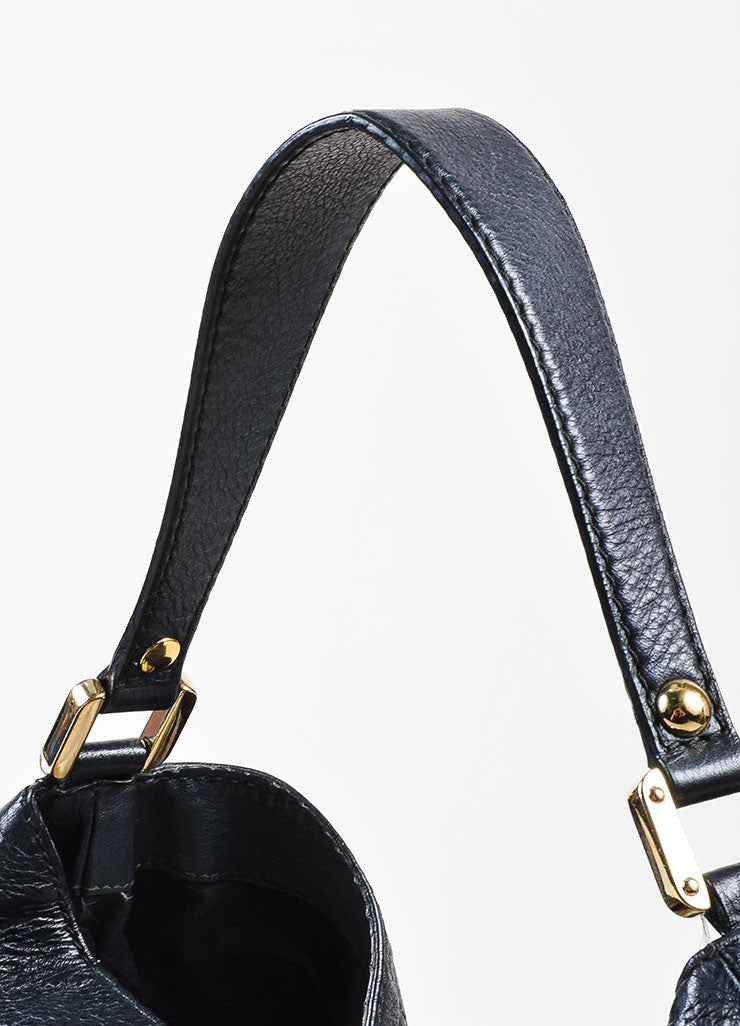 "Gucci Black Guccissima Embossed Leather ""New Web"" Hobo Bag Detail 2"