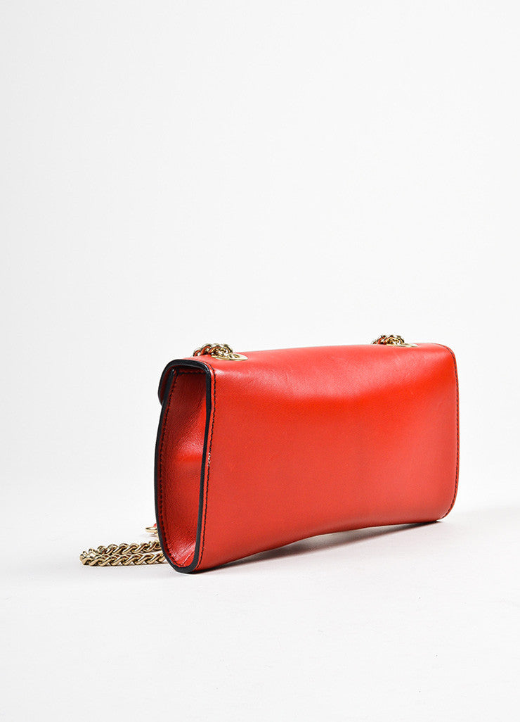 "Red Gucci Leather ""Emily"" Horsebit Tassel Chain Strap Shoulder Bag Backview"