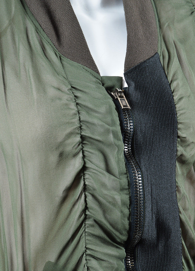 Haider Ackermann Green Silk Sheer Overlay Ruched Bomber Jacket Detail