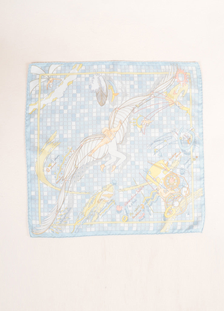 Hermes Blue and Multicolor Silk Checkered Cherub Print Handkerchief Scarf Frontview 2