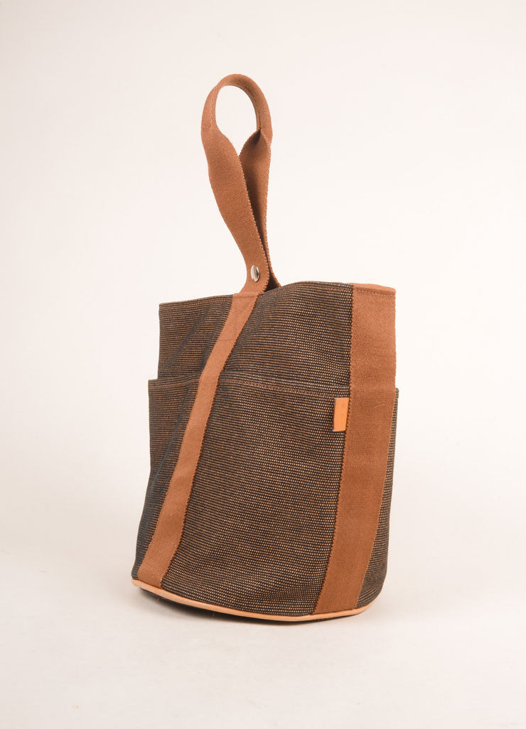 Hermes Brown and Black Woven Bucket Bag Sideview