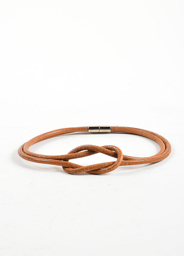 Hermes Brown Leather Double Strand Knot Choker Necklace Sideview