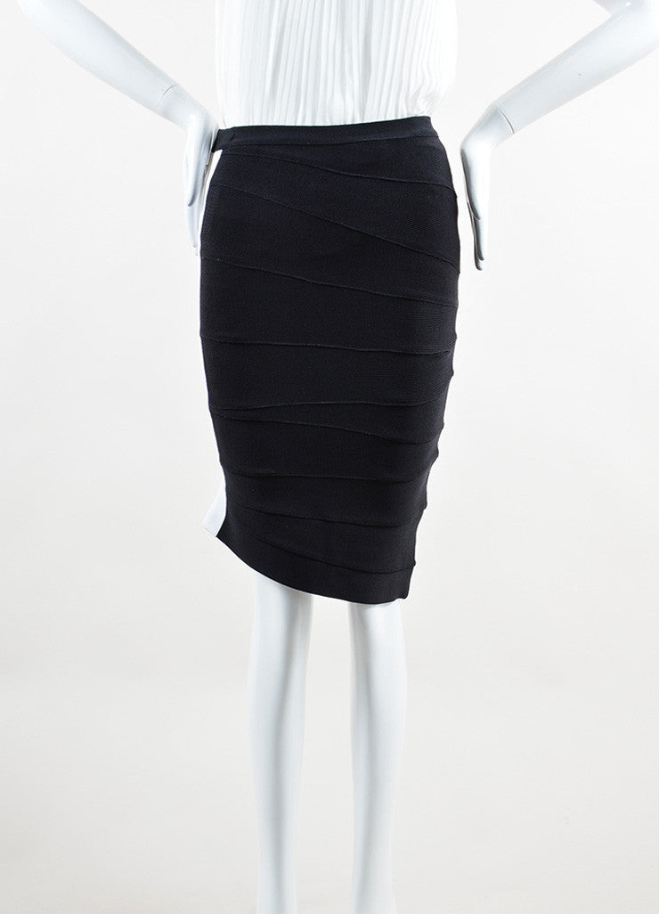 Herve Leger Black White Stripe Stretch Bandage Bodycon Short Pencil Skirt Frontview