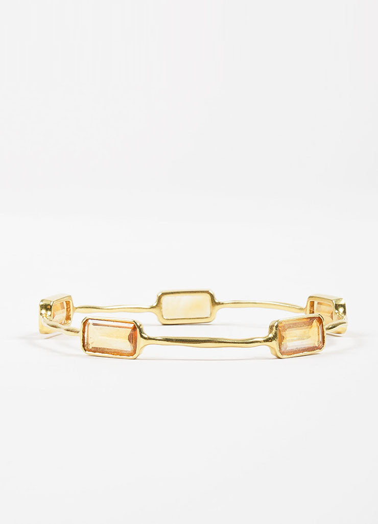 "18K Yellow Gold and Citrine 5 Stone Ippolita ""Rock Candy"" Bangle Bracelet Sideview"