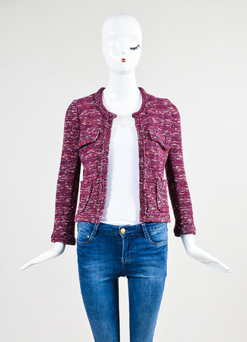 Red, White, and Blue Isabel Marant Etoile Woven Knit Jacket Frontview
