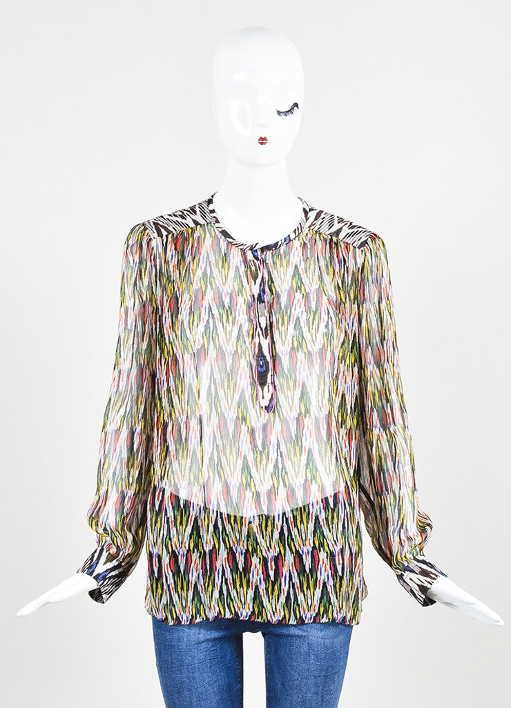 "Isabel Marant Multicolor Silk Print ""Pilay"" Long Sleeve Blouse Frontview"