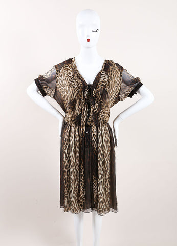 Jason Wu New With Tags Cream and Brown Silk Leopard Print Ruffle Pleated Dress Frontview