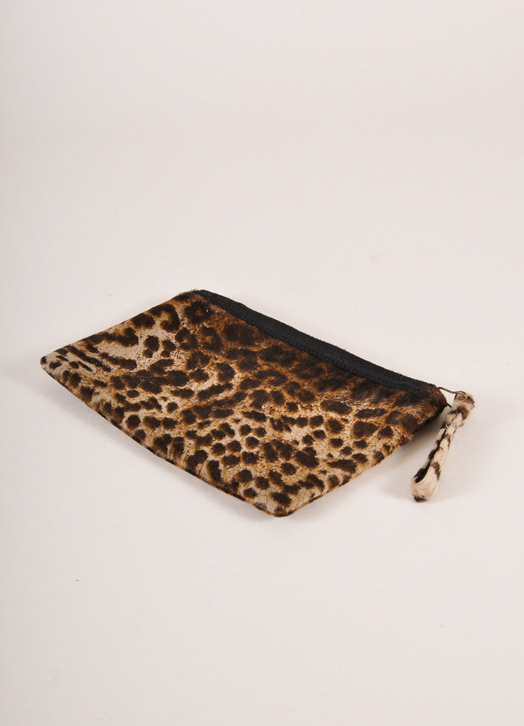 Lanvin Brown and Black Leopard Print Ponyhair Flat Zip Clutch Bag Backview