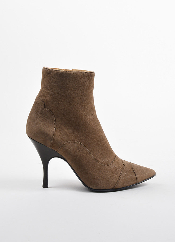 Lanvin Brown Leather Pointed Toe Heeled Booties  Sideview