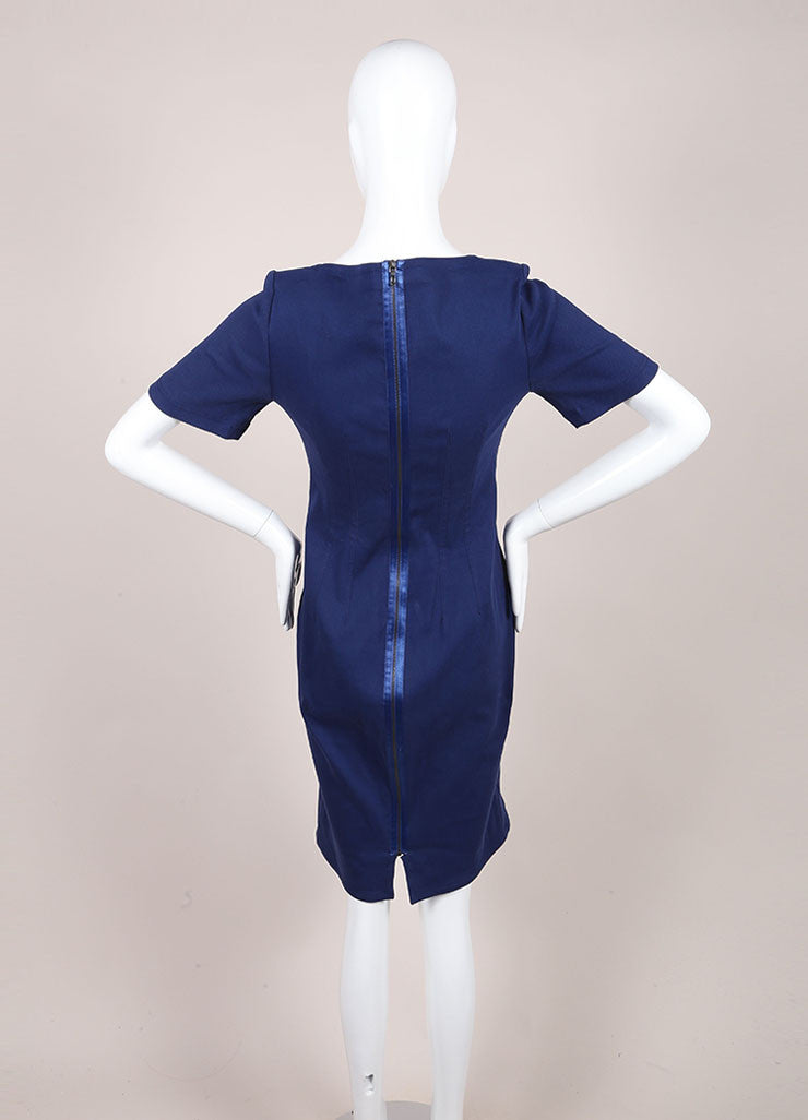 Lanvin Dark Blue Linen Woven Knit Short Sleeve Fitted Sheath Dress Backview