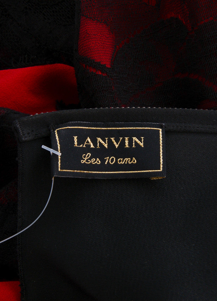 "Lanvin Red and Black Lace Applique ""Les 10 Ans"" Shift Dress Brand"