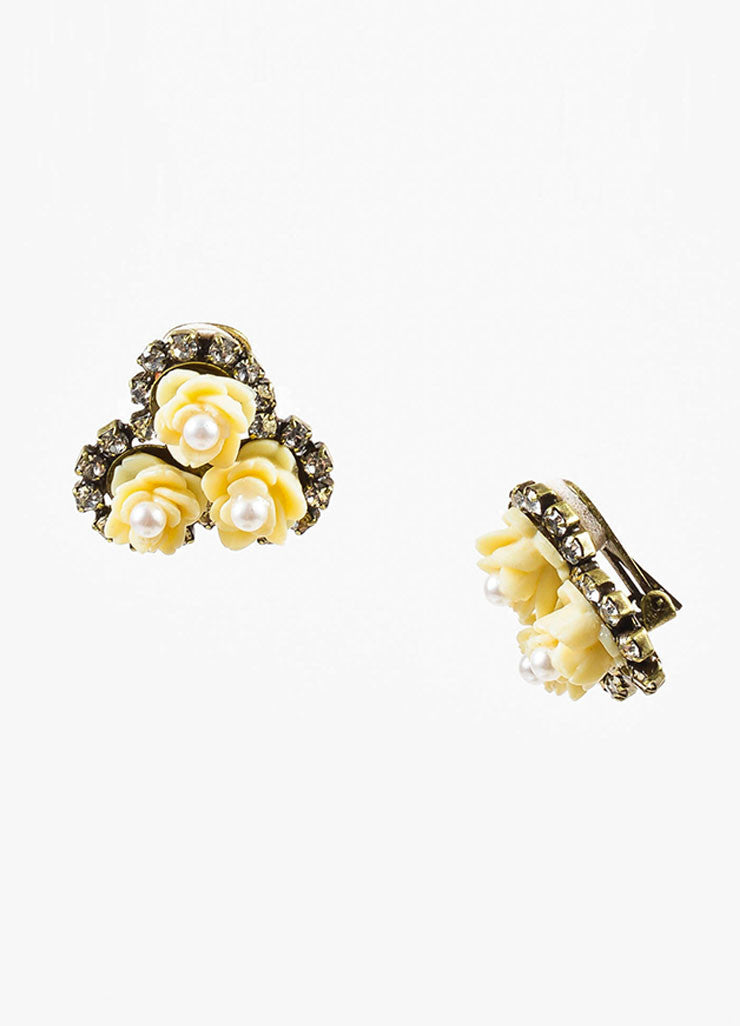 Gold Toned and Cream Lawrence Vrba Flower Faux Pearl Rhinestone Clip On Earrings Sideview
