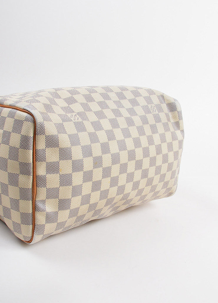"Louis Vuitton White and Blue Coated Canvas Damier Azur ""Speedy 30"" Satchel Bag Bottom View"