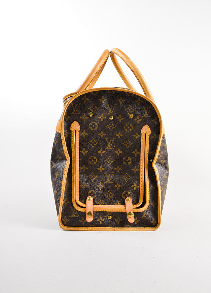 "Louis Vuitton Brown and Tan Coated Canvas and Leather Monogram Logo ""Dog Carrier 50"" Bag Sideview"