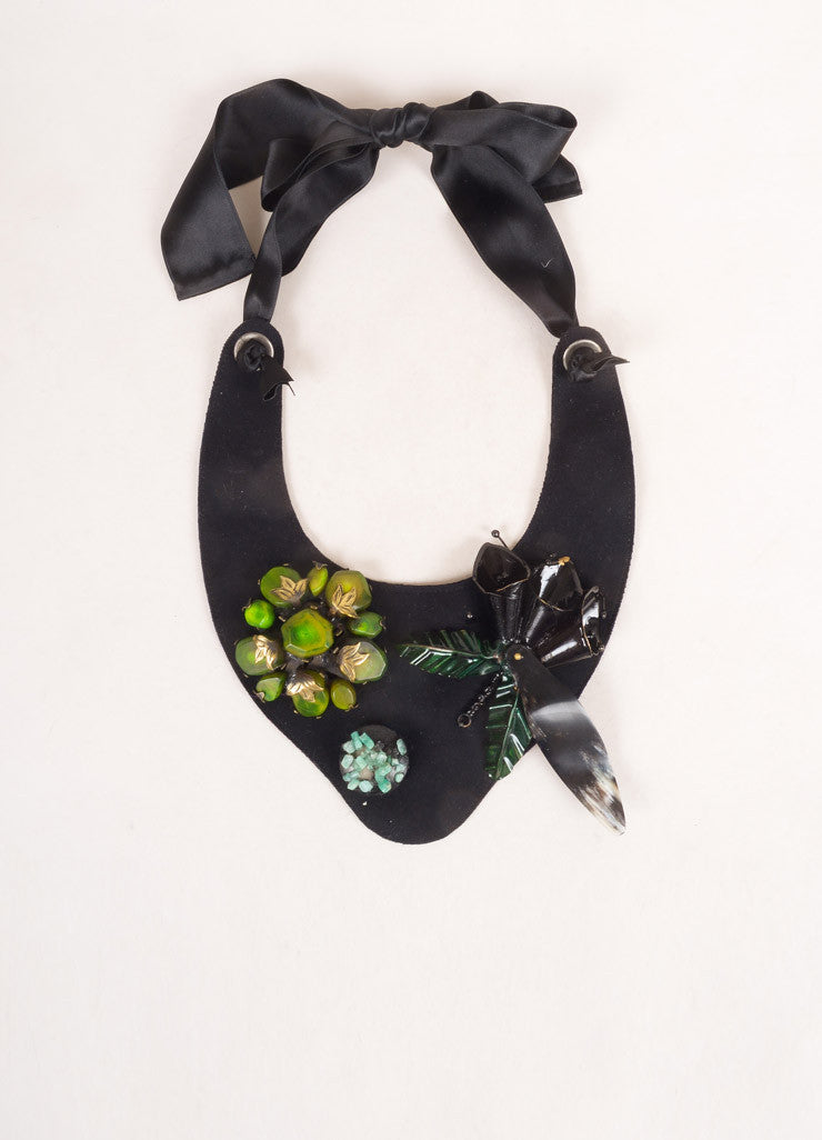 Marni Black and Green Felt Ribbon Stone Embellished Collar Necklace Frontview