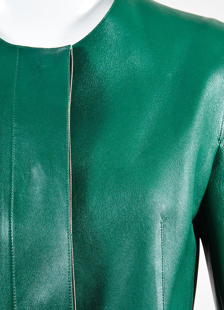 Marni Green Leather Peplum Jacket Detail