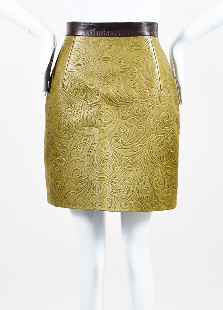 Mary Katrantzou Olive Green and Brown Leather Embossed Mini Skirt Frontview